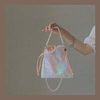 Bolso de hombro con cadena y cuentas de diseño Vintage para mujer, Mini bandolera de lana de moda, bolso de noche