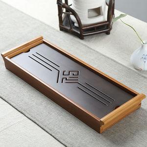 Image 1 - [GRANDNESS] オリジナル竹茶トレイ黒卓上中国 Gongfu 茶サービング竹テーブル水ドリップトレイ 39*13 センチメートル