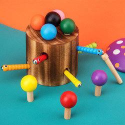 Wooden game toy Mushrooms bugs Capture tool Color stick Children's educational toys