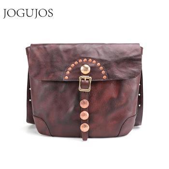 JOGUJOS Genuine Cowhide Leather Men Crossbody Bag Small Messenger Bags Men Travel Shoulder Bag Fashion Male Bag Flap Handbags