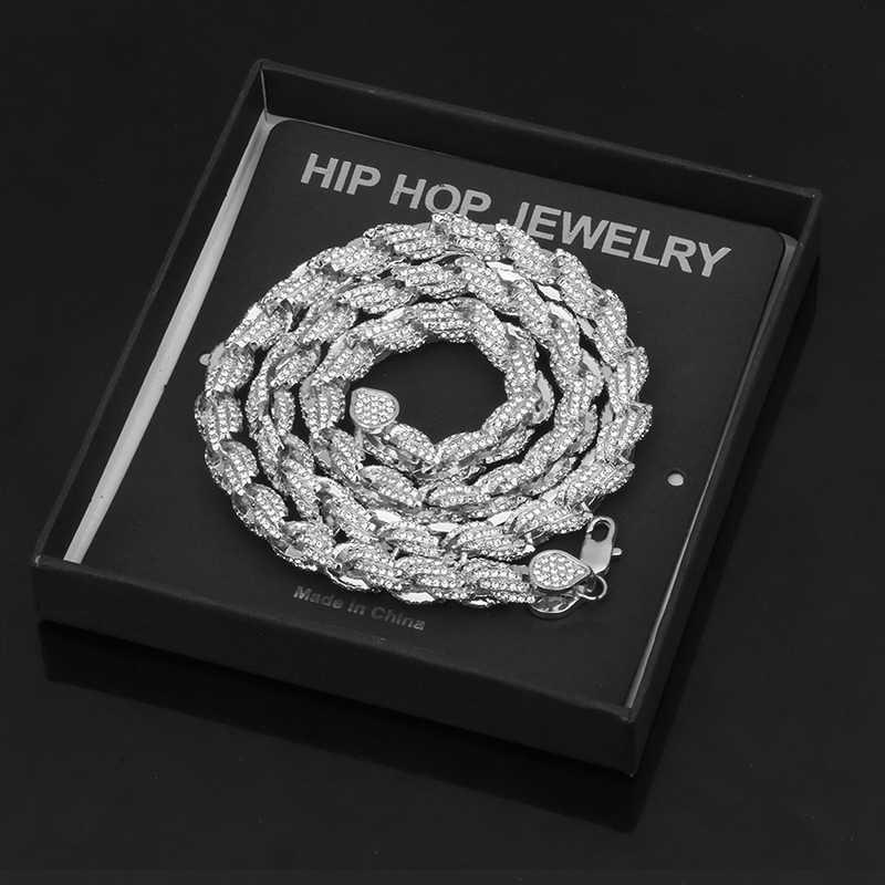 9 มม.Iced Out เชือกสร้อยคอ Link Chain สำหรับผู้ชาย Hip Hop ทองเงิน Rhinestone เข็มกลัด CZ Bling คริสตัลแฟชั่นเครื่องประดับกล่อง
