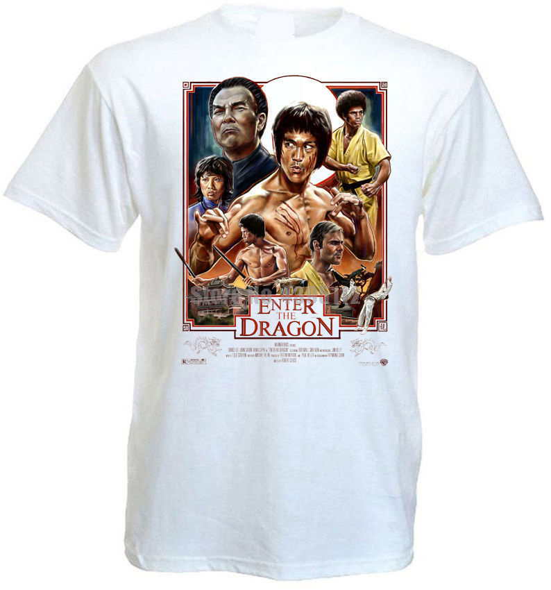 Enter Of The Dragon Bruce Lee Movie Poster Man Anime Tshirts Anime T-Shirts Vaporwave T-Shirt Sports T-Shirts Black Top Zlumnk image