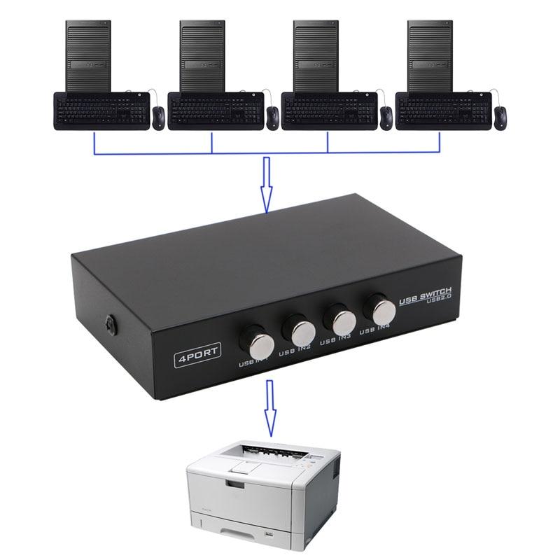 4 порта USB2.0 устройство переключатель распределитель адаптер Коробка для ПК Сканер Принтер L4MD