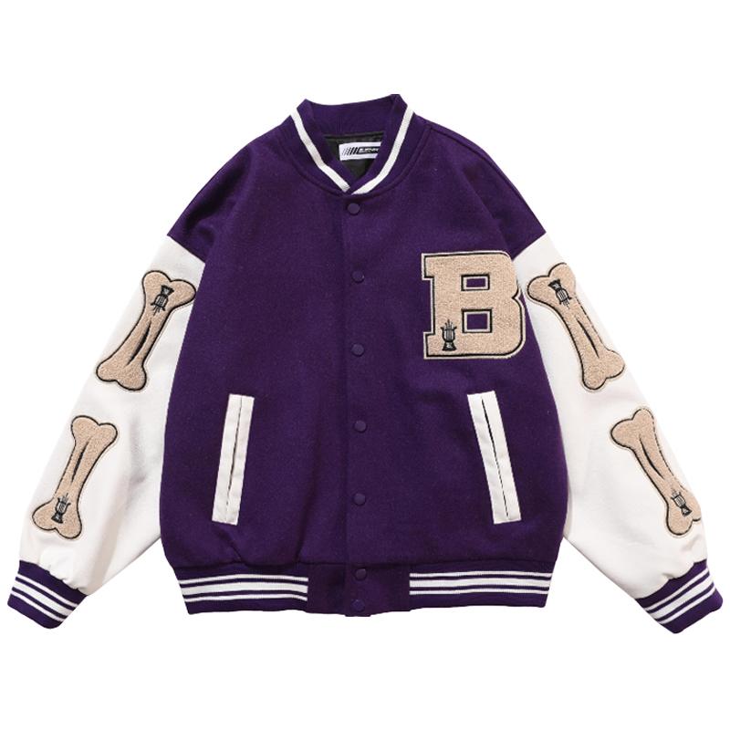 Mens Hip Hop Baseball Jacket Coats Furry Bone Letter Patchwork Optional Harajuku College Style Bomber Jacket Men Oversize M 2XL