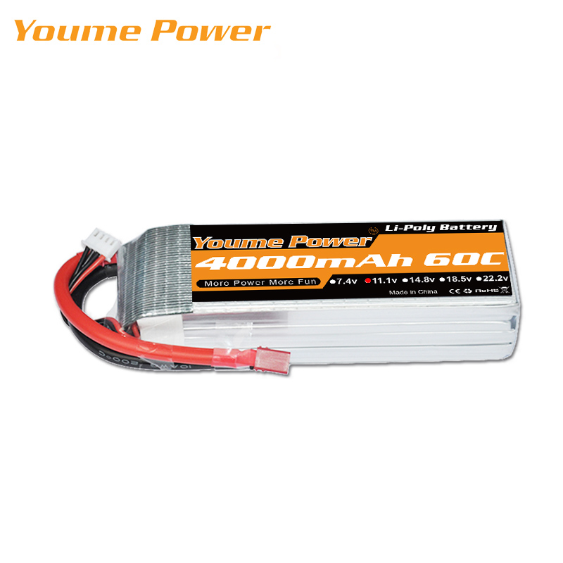 YOUME Lipo 2S 7.4V 3S 11.1V 4000mAh 60C 4S 14.8V 6S 22.2V Battery XT60 T TRX 18.5V 5S for RC Parts Car Quadcopter Helicopter(China)