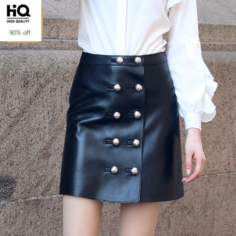 High Quality Woman Skirts Natural Leather Female High Waist Skirts Fashion Double Breasted A Line Skirts Slim Fit Saia Feminina