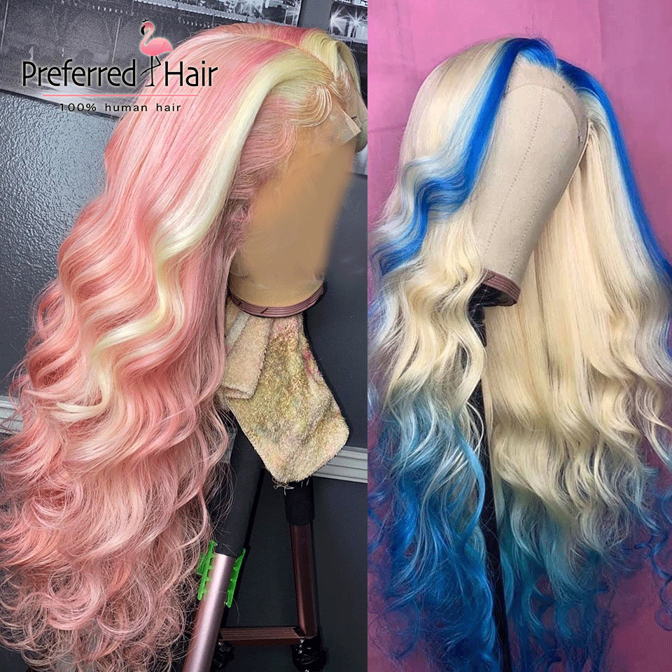 Preferred 613 Pink Highlight Wig Pre Plucked 13x6 Lace Front Wig Brazilian Remy Blue Full Lace Human Hair Wigs for Women image