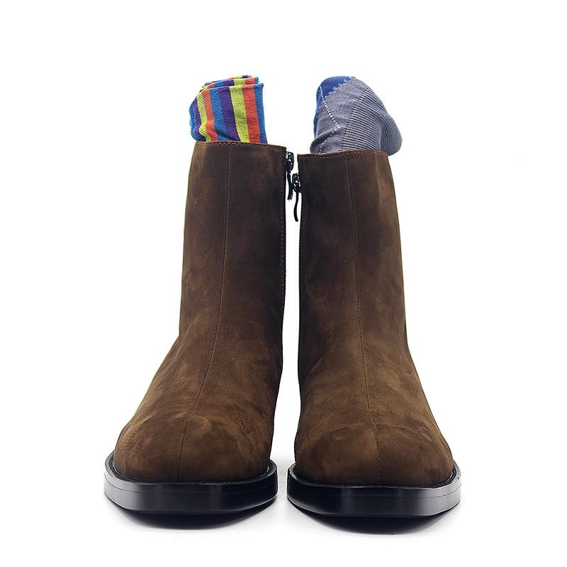 Botas de vestir de tacón alto de cuero de gamuza para hombre Botas de lujo de marca con cremallera puntiagudas botas de tobillo zapatos clásicos de oficina de negocios para hombre marrón oscuro - 2