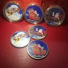 Christmas Commemorative Coin Medal Color Printing Santa Bitcoin Metal Crafts Gift Souvenir Coins