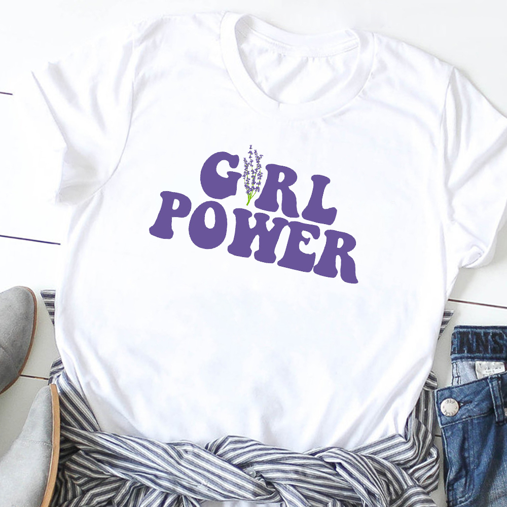Tees Clothes Tee Shirt Female T Shirt Graphic Print T-shirts Women Girl Power Fashion Letters Simple Feminist Print T-Shirt