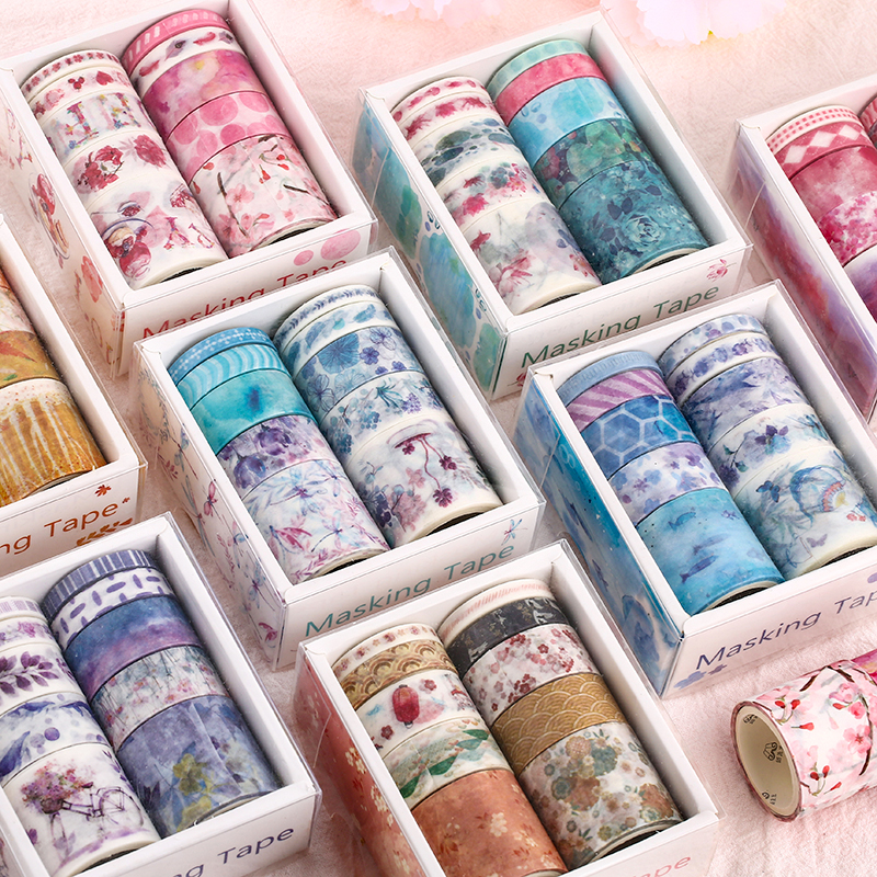 10pcs Forest And Sea Paper Washi Tape Set Flower Plant Fruit Adhesive Color Masking Tapes Book Album Decoration Stickers A6404