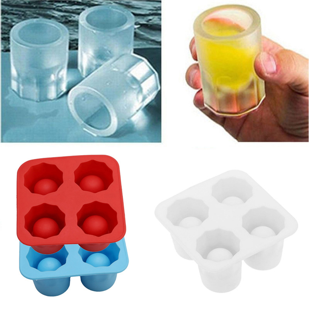 4 Cup Shape Silicone Ice Cube Mold Shot Glass Ice Mould Ice Cube Tray Summer Bar Party Beer Ice Cocktail Cold Drinking Tool