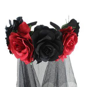 Image 3 - Halloween Wreath Headband Handmade Fabric Rose Flower with Black Mesh Veil Tulle Crown Festival Day of The Dead Hair Hoop