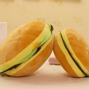 Image 1 - Peluş oyuncaklar hamburger şekli yastık yaratıcı komik peluş oyuncak bebek yastık çocuk hediye gerçekçi hamburger doldurulmuş oyuncaklar