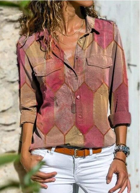 2020 Autumn Casual Women Blouse Shirts Retro V Neck Button Long Sleeve Tops Elegant Office Ladies Plus Size Shirt Blusa Feminina 3