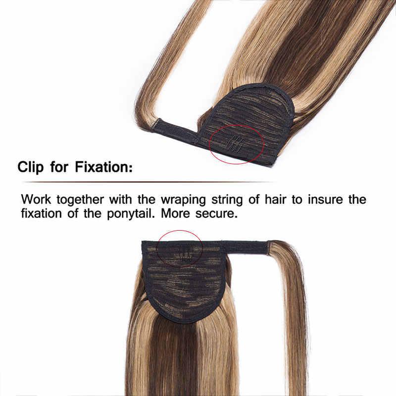 """Sego 14 """"-22"""" Ekor Kuda Rambut Ekstensi Tidak Remy Lurus Panjang Membungkus Ekor Kuda 100% Real rambut Klip Jepit Rambut 80G-95G"""