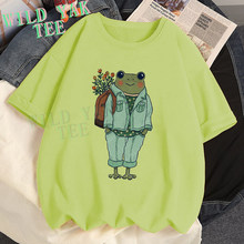 Flower Frogs Summer 100% Cotton Short-sleeved T Shirt Green Orange Yellow Tops Soft T-shirt Women's Clothing Funny Top Female