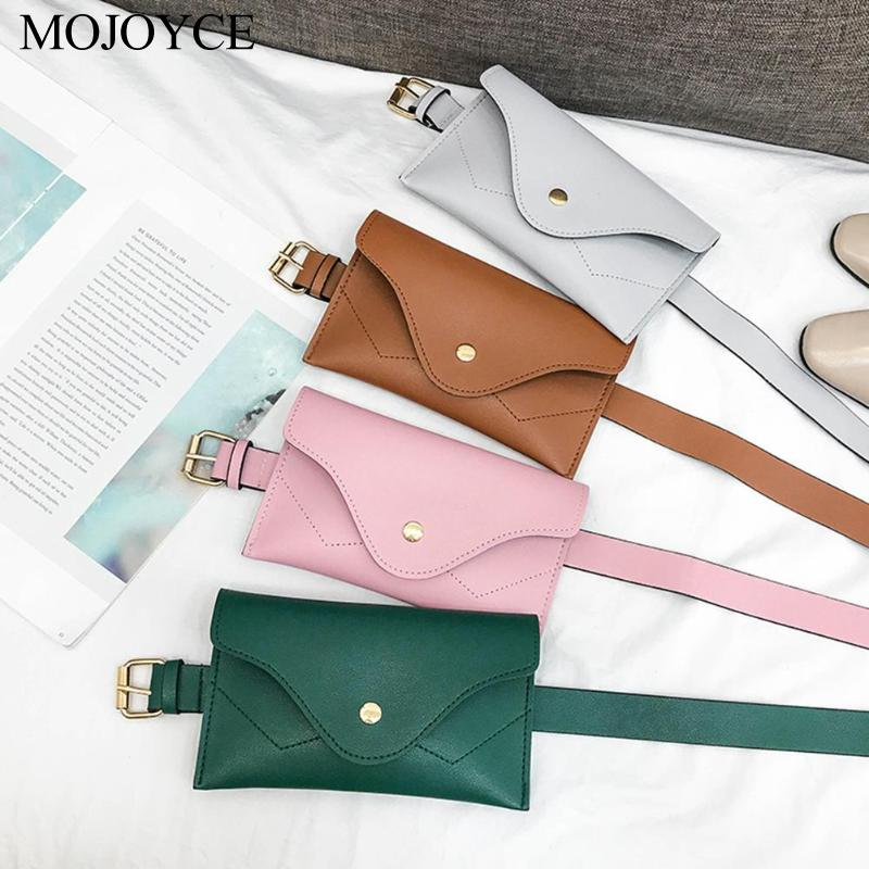 Simple Classic Women PU Leather Waist Pack Pure Color Purse Casual Belt Bag Female Vintage Waist Pouch Fanny Pack Coin Bags