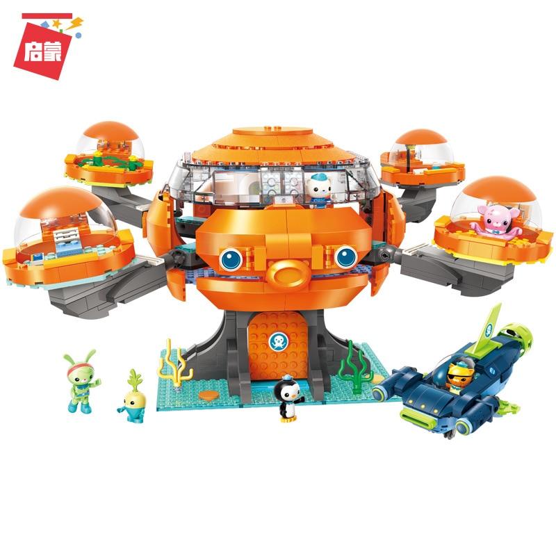 921Pcs Enlightenment 3716 Submarine Column Building Block Octopus Fort Model Children Assembling Toy Gifts