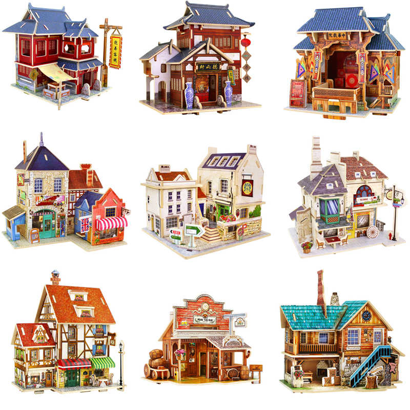 13 Kinds DIY Wooden Miniature Global Style House Assemble Model Building Kits Toy For Children Christmas Birthday Gifts
