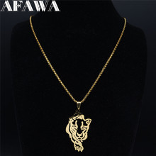 AFAWA 2020 Tiger Stainless Steel Necklace Chain Women/Men Gold Color Necklaces Jewelry collar acero inoxidable mujer N4106S01 summer mermaid stainless steel long necklace men women silver color necklace jewelry collar acero inoxidable mujer nzz5s03