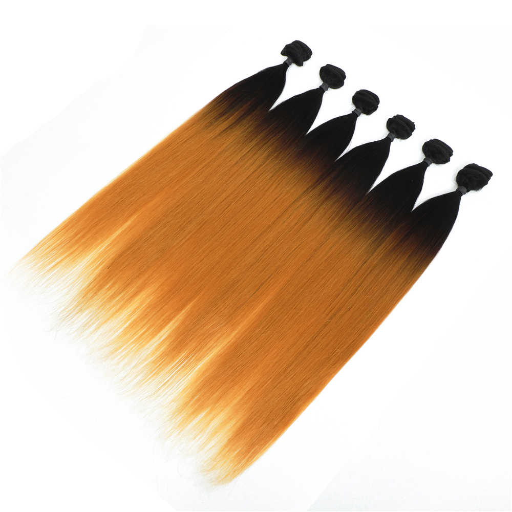Synthetic Silky Straight Hair Bundles 24 inches Ombre Color T27 6 Bundles All In One Pack Heat Resistant Synthetic Fiber 240g