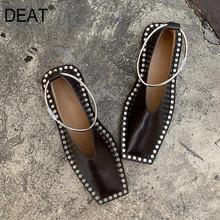 [Deat] 2021 praça toe raso couro do plutônio anel de metal rebite casual único sapatos planos femininos nova primavera outono moda 19i-a224