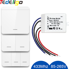433Mhz Wireless Wall-panel Switches Electrical Control for Ceiling Lamp Ledlight Fan Rf Remote Control Relay Receiver AC 85-265V cheap tedeligo CN(Origin) ROHS 433Mhz Remote Control domotica Keyless entry system Plastic One Year 2201E Remote Control Switch AC 110V 220V 7Amp Light Controller DIY