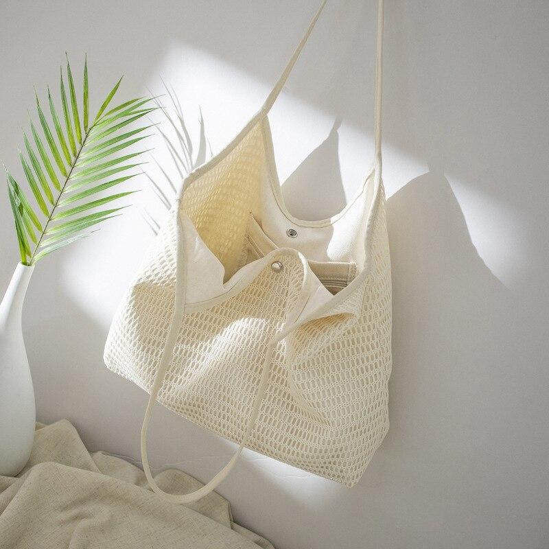 Multifonction toile maille Net sac à provisions pliable sac à main réutilisable voyage dame stockage sac de plage fourre-tout