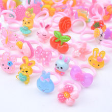 1 Pcs Summer Style Kids Children Cute Candy Colorful Cartoon Resin Rings for Girl Fashion Party Jewelry Gift Jewelry Wholesale(China)