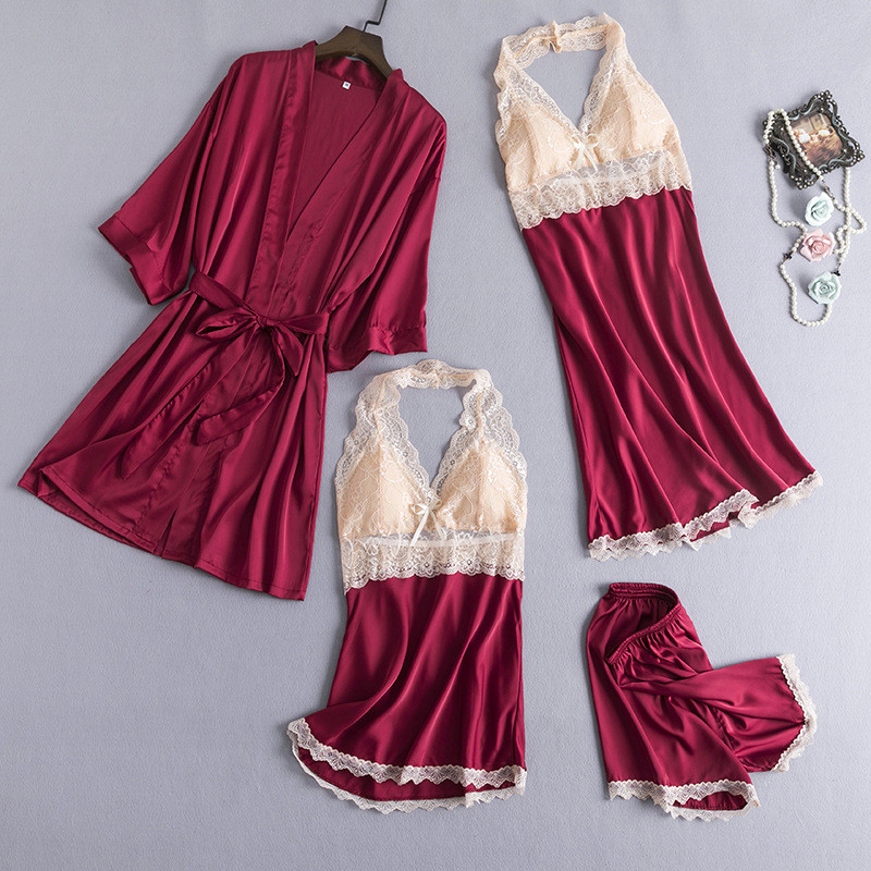 JULY'S SONG  Woman Sleepwear Faux Silk Lace Pajamas Set Women Stain Sexy Lady Elegance Lace Sling Shorts Summer Robe Home Wear