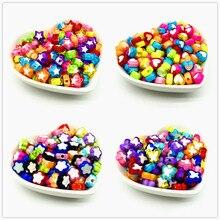 50 pces cor de mistura bonita grânulos acrílicos para fazer jóias diy, estrelas, flores, borboletas, formas de coração