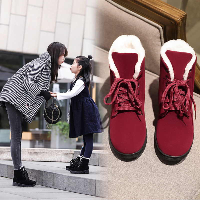 ENMAYER Lace Up Cow Suede Ankle Snow Boots Round Toe Height Increasing Med Parent child Shoes Solid Plush Cross tied Platform in Ankle Boots from Shoes