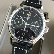 Sugess couro masculino piloto relógio militar gaivota masculino cronógrafo relógio 1963 panda preto 38mm relógios de pulso para homem safira