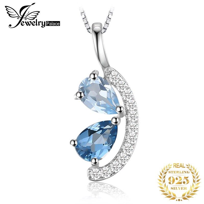 přepněte topaz - JewelryPalace Natural Blue Topaz Pendant Necklace 925 Sterling Silver Gemstones Choker Statement Necklace Women Without Chain