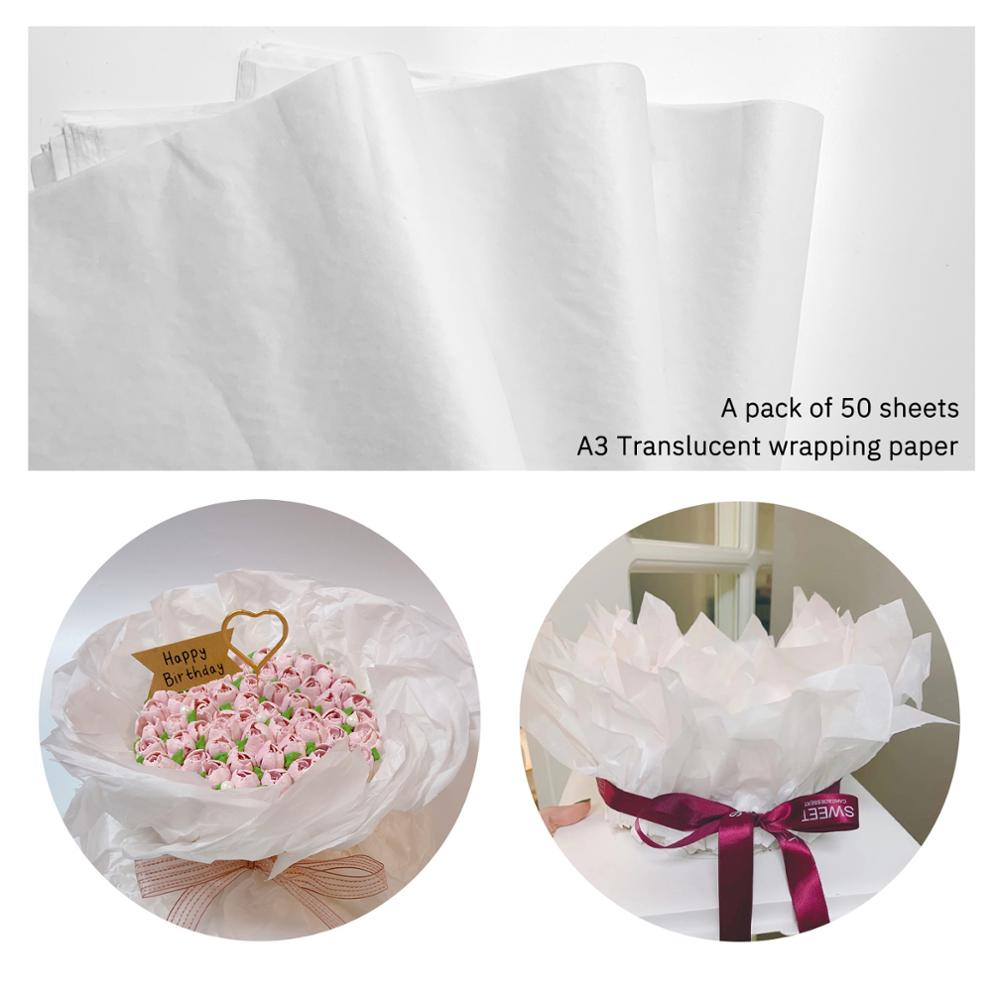 50 Pcs A3  White Gift Wrapping Paper Translucent For  Product Packaging Wrap For Artware Package Moisture-Proof Wrapping Paper