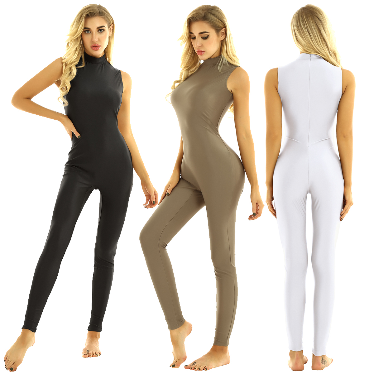 Women High Neck Sleeveless Stretchy Unitard Yoga Dance Bodysuit Adult Gymnastics Leotard Sports Jumpsuit Ballet Dance Costume