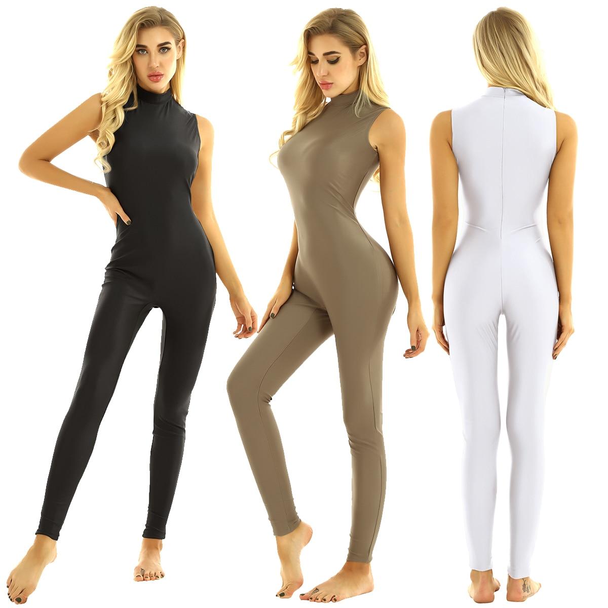 Women High Neck Sleeveless Stretchy Unitard Yoga Dance Bodysuit Adult Gymnastics Leotard Sports Jumpsuit Ballet Dance Costume