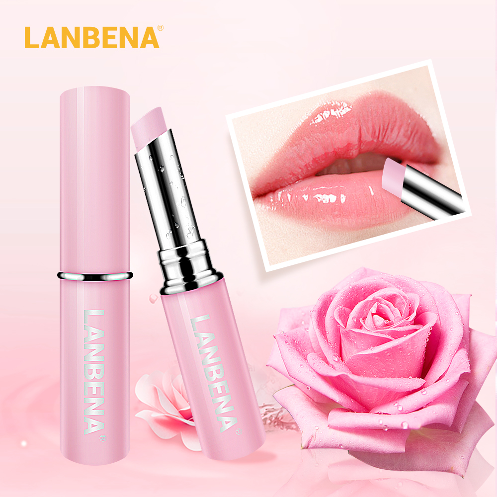 LANBENA Rose Lip Balm Natural Extract Lipstick Fade Lines Nourishing Moisture Lips Care Relieve Dryness Long Lasting Daily Use