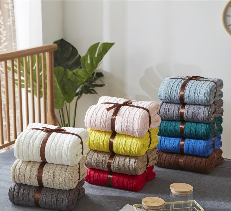 Pink White Blue Gray Cotton Twist Style Handmade Soft Knit Blanket Bed Plaids Knit Sofa Throw Blanket 120x180cm 180*200cm(China)