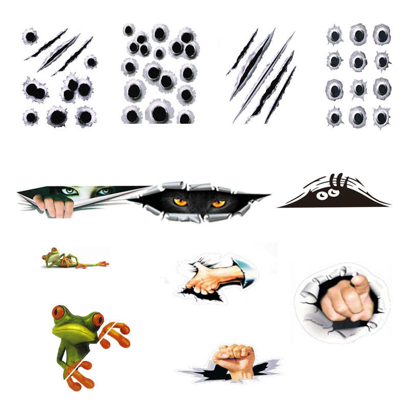 12 Car Body Stickers 3D Car Stickers Simulation Bullet Hole Voyeur Girl/boy Finger Pattern Big Eye Auto Products Car Accessories