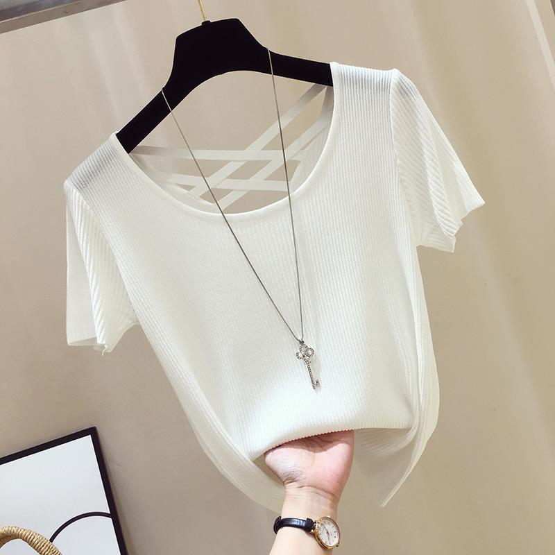 Sexy Shirt Women Basic Tshirt White Black Korean clothes Solid color Knitted Top Stretch Backless Summer Ladies T Shirt Casual|T-Shirts|   - AliExpress