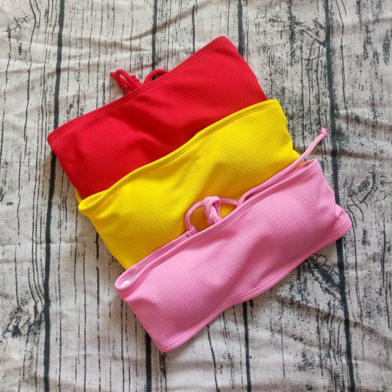 4 colors Solid Bikini Swimsuit Women Bikini Set Sexy Off Shoulder Swimwear Female Swimming Biquini Maillot De Bain Femme 2019-3