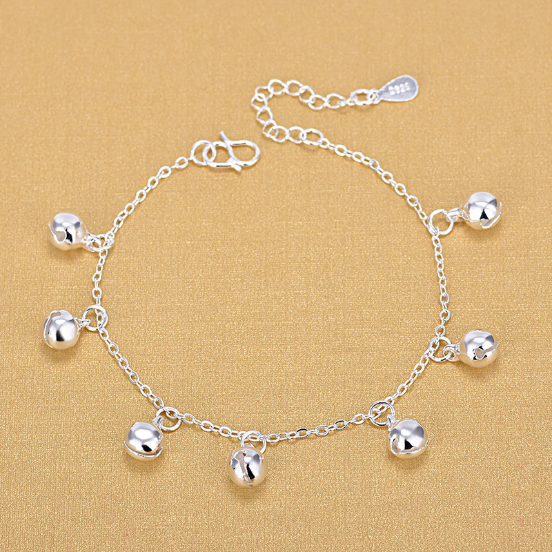 925 Sterling Silver Lucky Little Bell Bracelet Simple Cute Girl Anklet Fine Jewelry For Women Elegant Accessories