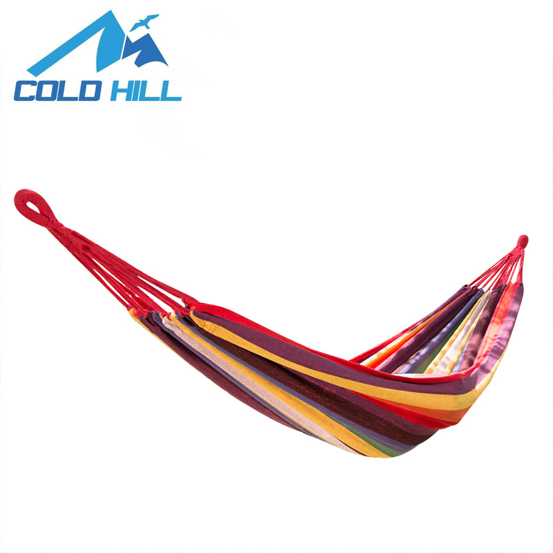 Cross Border Supply Of Goods Outdoor Leisure Hammock Camping Single Person Double Mixed Colors Canvas Hammock Swing Bed Currentl