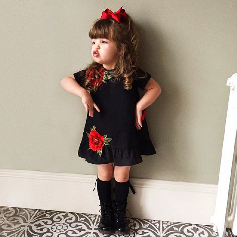 Pudcoco 0-4Y 2020 Pretty Toddler Kids Baby Girls 3D Flower Summer Party Dress Sundress Embroidery Clothes Size 0-4T