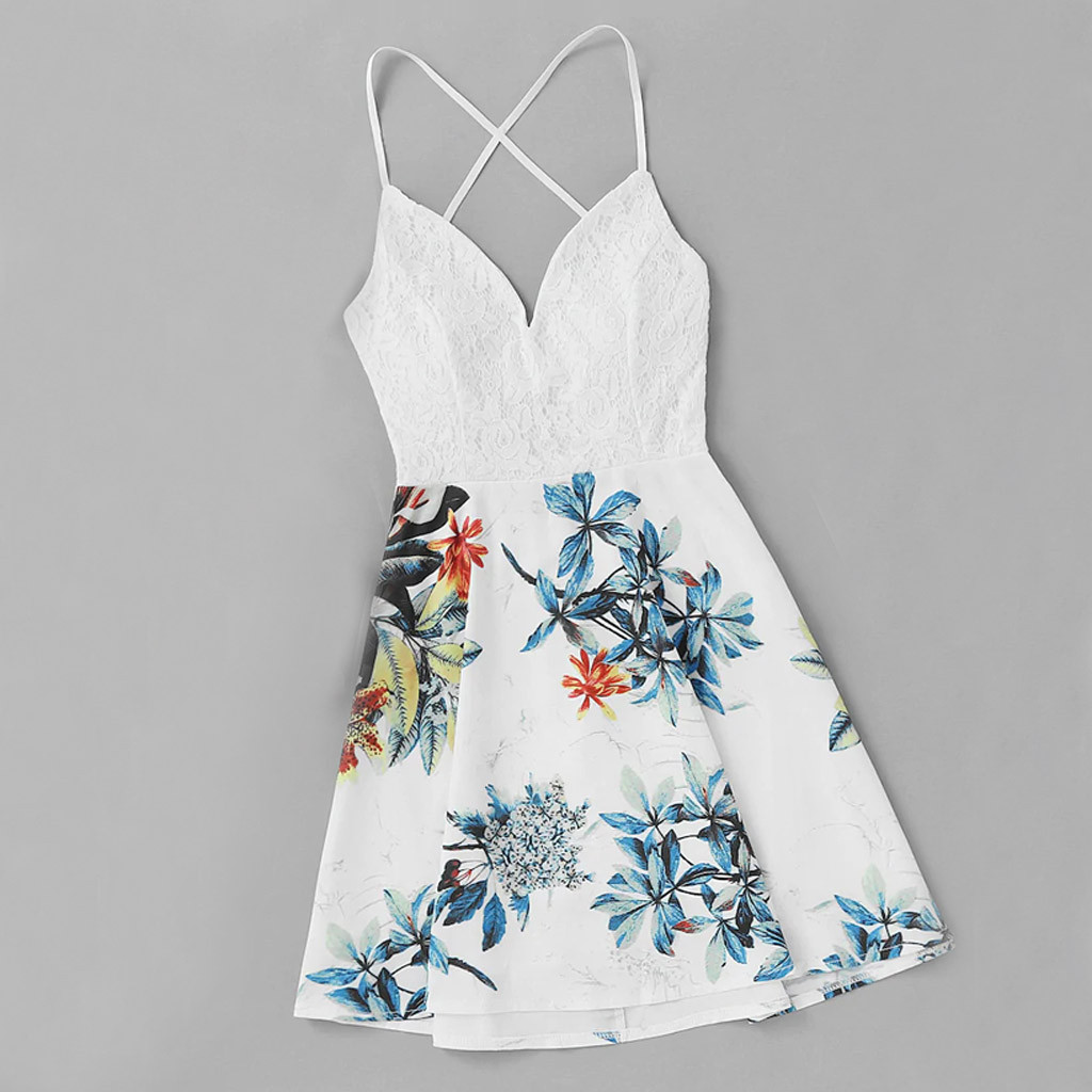 Ladies Dresses Sexy Dress Casual Flower Women Lace Casual Sleeveless Printed Beach Dress Vestidos De Mujer
