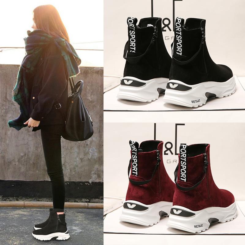 Koovan Women's Boots High Heel 2019 New Winter Rabbit Hair Short Boots Thick Heel Women's Lace Up Short Shoes Plush Warm Boot
