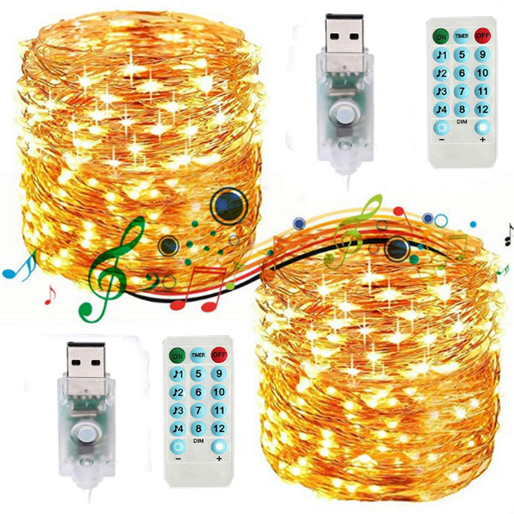 USB Copper Wire Sound Activated Music LED String Lights 5M 10M Twinkle Holiday String Light For New Year Party Christmas Wedding