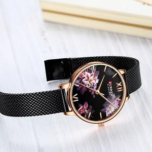 Image 5 - CURREN New Ladies Flower Watches Women Stainless Steel Bracelet Wristwatch Womens Fashion Quartz Clock reloj mujer Casual